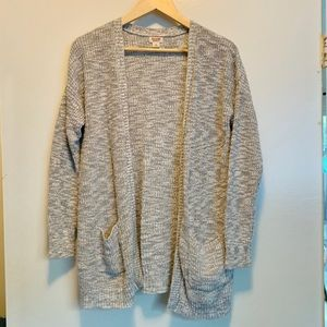 Heather Grey - Baggy chunky knit Cardigan Sweater